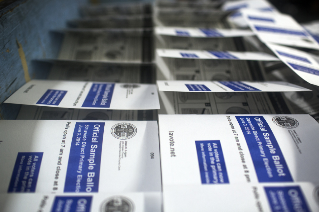Sample ballots for Los Angeles County are finished and ready to be packaged for shipment.