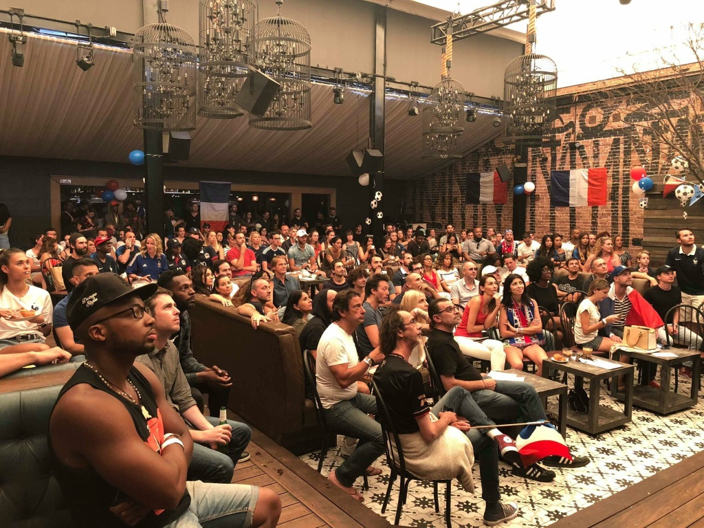 All eyes were on the game at the last France Fan Club event for the World Cup. (Photo by The France Fan Club)