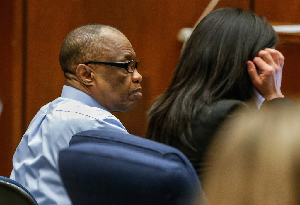 FILE- In this Feb. 16, 2016, file photo, Lonnie Franklin Jr., left, appears in Los Angeles Superior Court for opening statements in his trial in Los Angeles. Franklin has pleaded not guilty to killing nine women and a 15-year-old girl between 1985 and 2007 in one of the city's most notorious serial killer cases.
