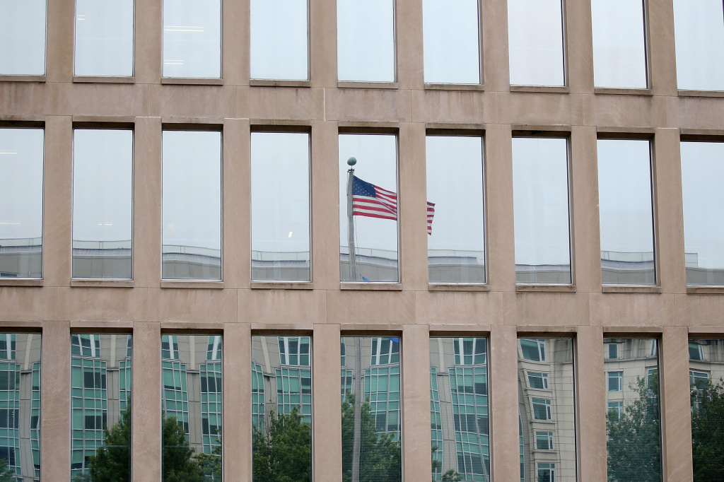 The Theodore Roosevelt Federal Building that houses the Office of Personnel Management headquarters in a 2015 file photo. The agency acts as the federal government's human resources department and in light of the coronavirus outbreak, it's encouraging federal workers to telework from home.