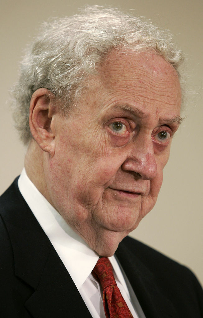 Former Supreme Court nominee Robert Bork speaks during a panel discussion about the U.S. Senate's role on judicial nomination process September 1, 2005 in Washington, DC.