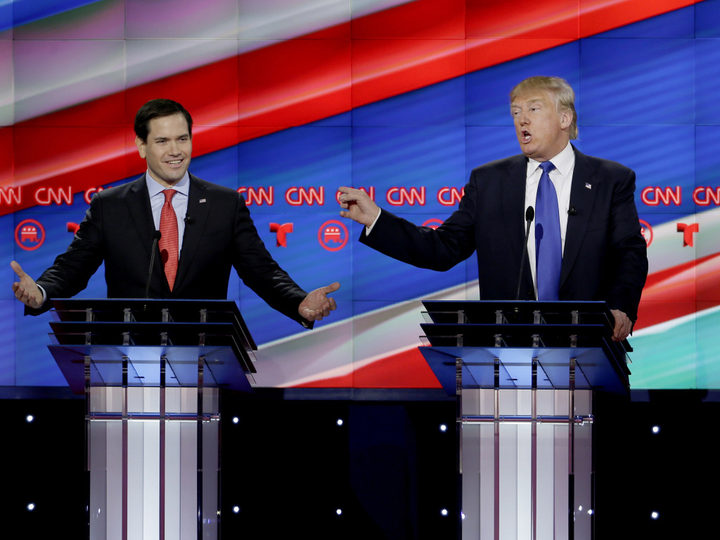 Republican presidential candidates Sen. Marco Rubio, Donald Trump and Sen. Ted Cruz during a debate at the University of Houston on Thursday.