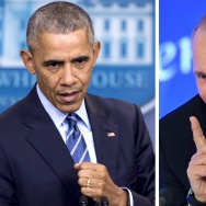 This combination of file photos shows US President Barack Obama speaking at the White House in Washington, DC on December 16, 2016 and Vladimir Putin speaking in Moscow on December 23, 2016.