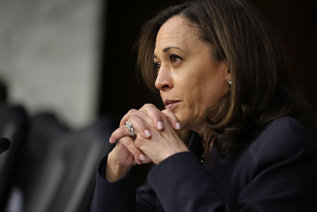 Senate Judiciary Committee member Sen. Kamala Harris (D-CA) questions witnesses during a hearing about the massacre at Marjory Stoneman Douglas High School on 14, 2018 in Washington, DC.