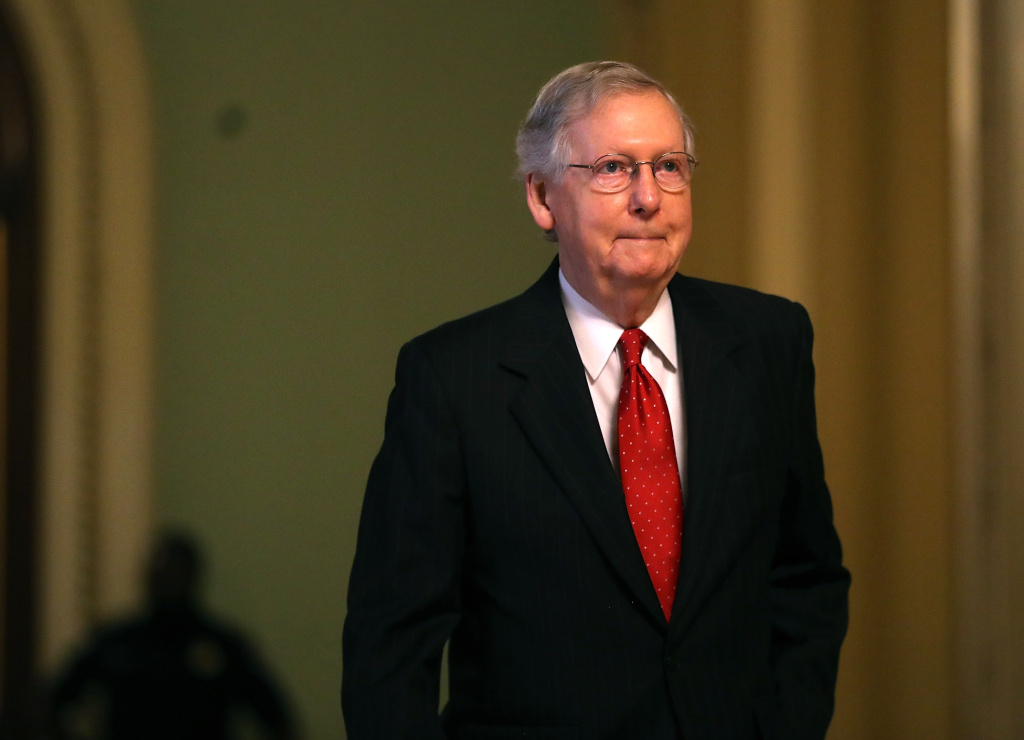 Senate Majority Leader Mitch McConnell (R-KY) walks to his office on July 26, 2017 in Washington, D.C.
