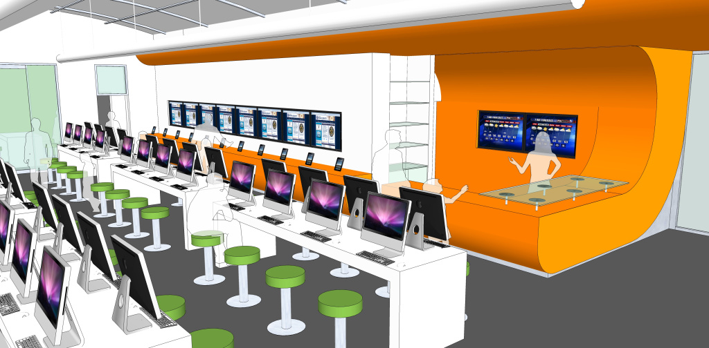 A rendering of the interior of the BiblioTech library.