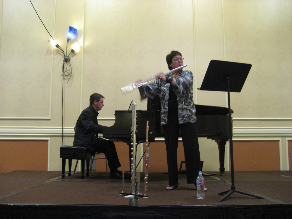 Louise DiTullio performs in front of a crowd at the National Flute Association Convention in Anaheim.