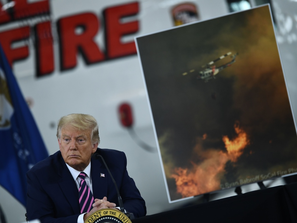 President Trump speaks Monday during a briefing on wildfires in McClellan Park, Calif.