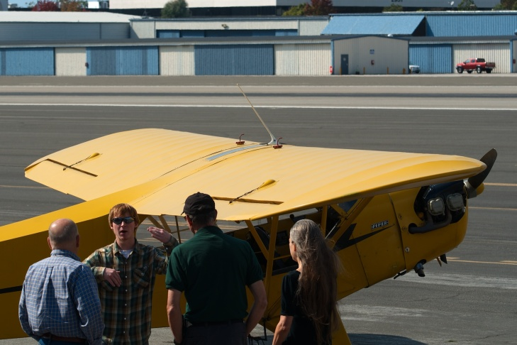 Zach Corr talks about recent flights with friends while stopped at Santa Monica Airport on his way from Hayward to San diego.
