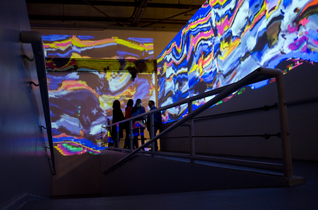 Ara Peterson's graphics presents a grand entrance and leads everyone into The Audio-Visual Club gallery experience.