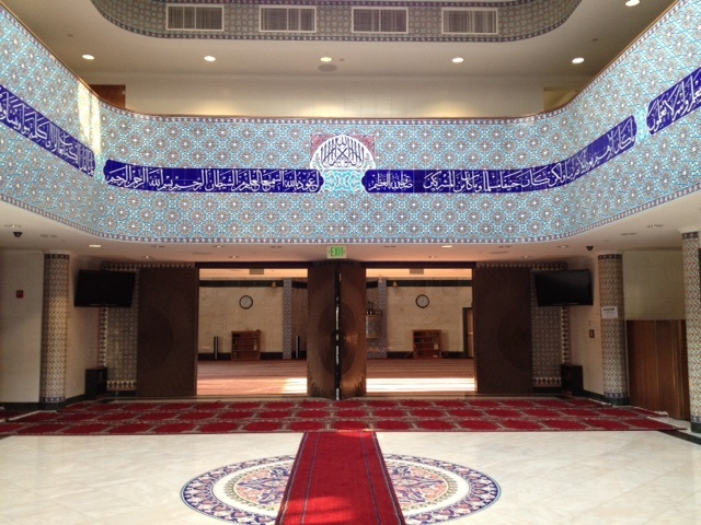 The interior of King Fahad mosque in Culver City, a NewGround partner with Temple Emanuel of Beverly Hills.