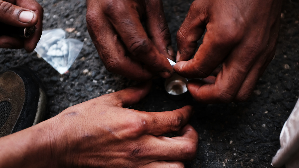 Heroin users prepare the drug in New York City's South Bronx neighborhood.