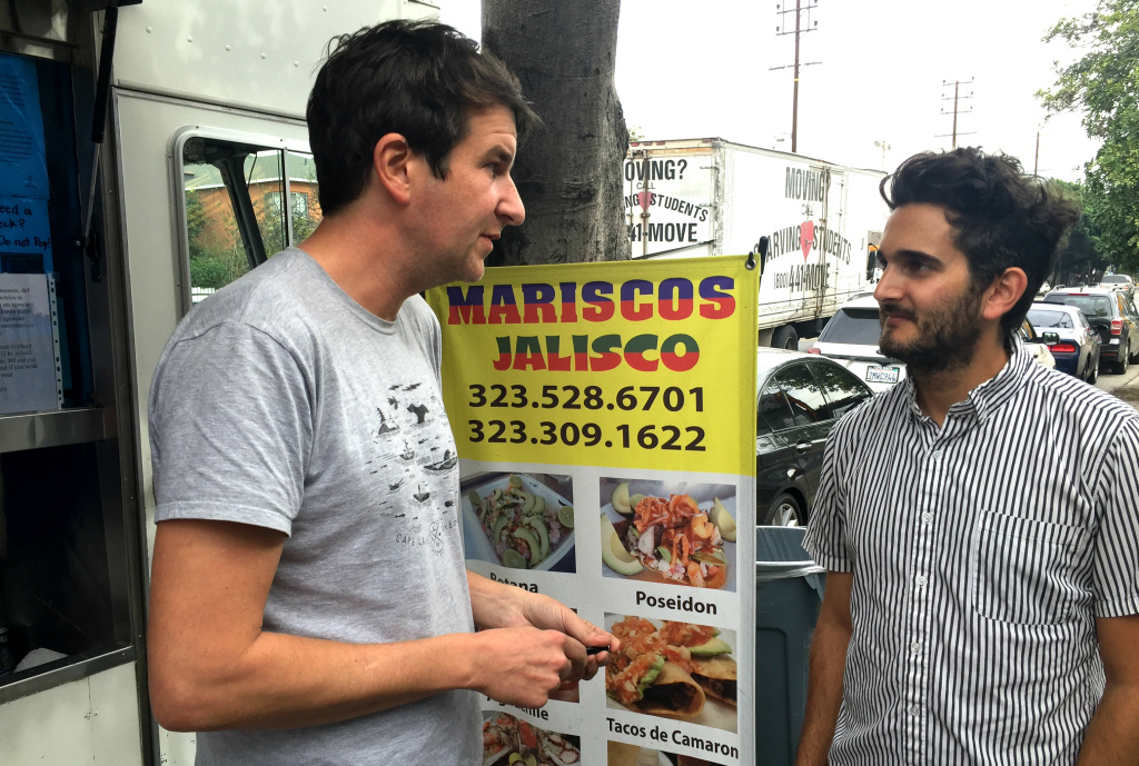 Joe Cobden and Dave Green of Toothpix in front of Mariscos Jalisco in Boyle Heights