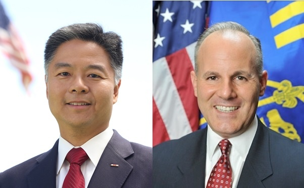 State Sen. Ted Lieu, left. Deputy District Attorney Elan Carr, right.