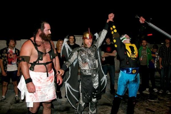 Samson versus Squid at Foam Weapon League