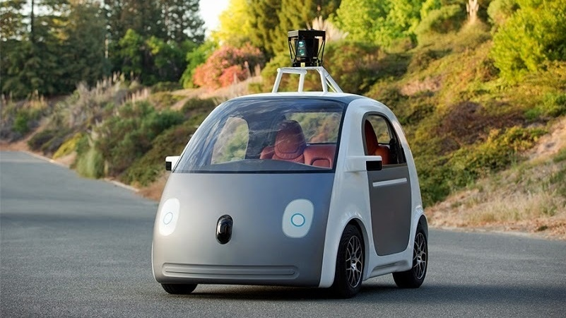 An image released by Google shows an early version of its driverless vehicle. The company has built several prototypes of the self-driving car.