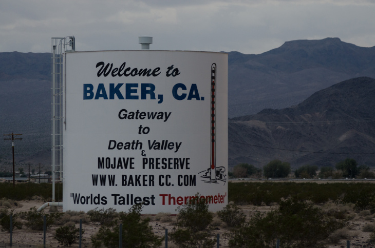 Truck drivers frequent the area around Baker, Calif., Thursday, November 9, 2012. Travelers to and from Las Vegas would use the thermometer to gage the temperature during their trip.
