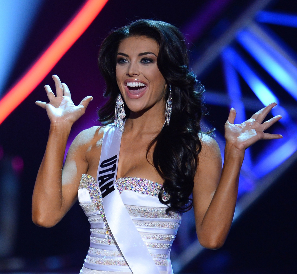 Miss Utah USA Marissa Powell during a commercial break in the 2013 Miss USA pageant in Las Vegas on Sunday.