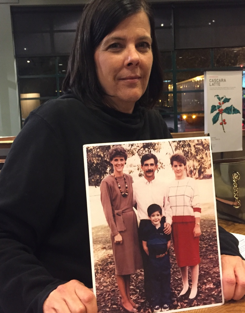 Tami Friedrich Trakh holds a photo of her sister, Kris Anne Mercurio, 36, her husband Alan, 41, daughter Brandie, 17, and son Anthony, 9. All were killed in a crash with a gasoline tanker truck on the 10 freeway in Claremont in 1989. Trakh has become an advocate for tighter truck safety laws.