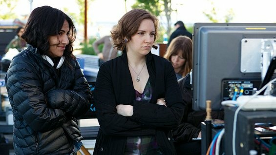 Executive producer Jenni Konner, left, and creator/star/writer/director Lena Dunham shooting an episode of the HBO comedy,