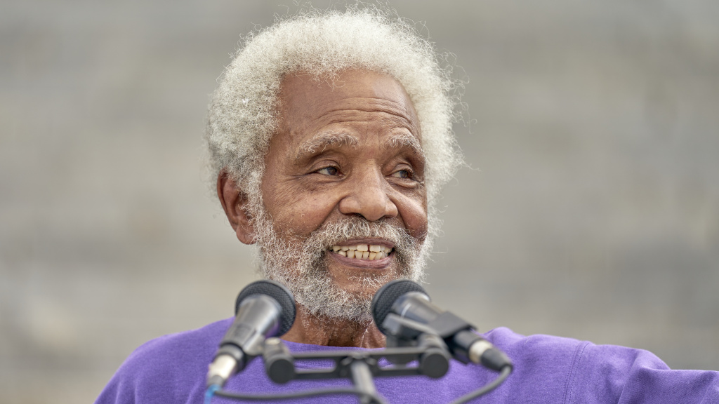 Nebraska's longest serving state Sen. Ernie Chambers of Omaha addresses supporters on the stairs of the Capitol in Lincoln, Neb., on Aug. 13. Chambers helped keep Nebraska's electoral votes split.