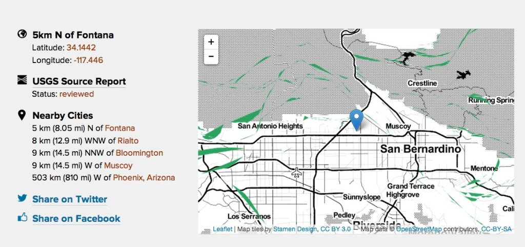 A 4.4 magnitude earthquake struck the Fontana area on Wednesday morning, Jan. 15, 2014. This is a map from KPCC's Earthquake Tracker app, which can be accessed from a link in the story below.