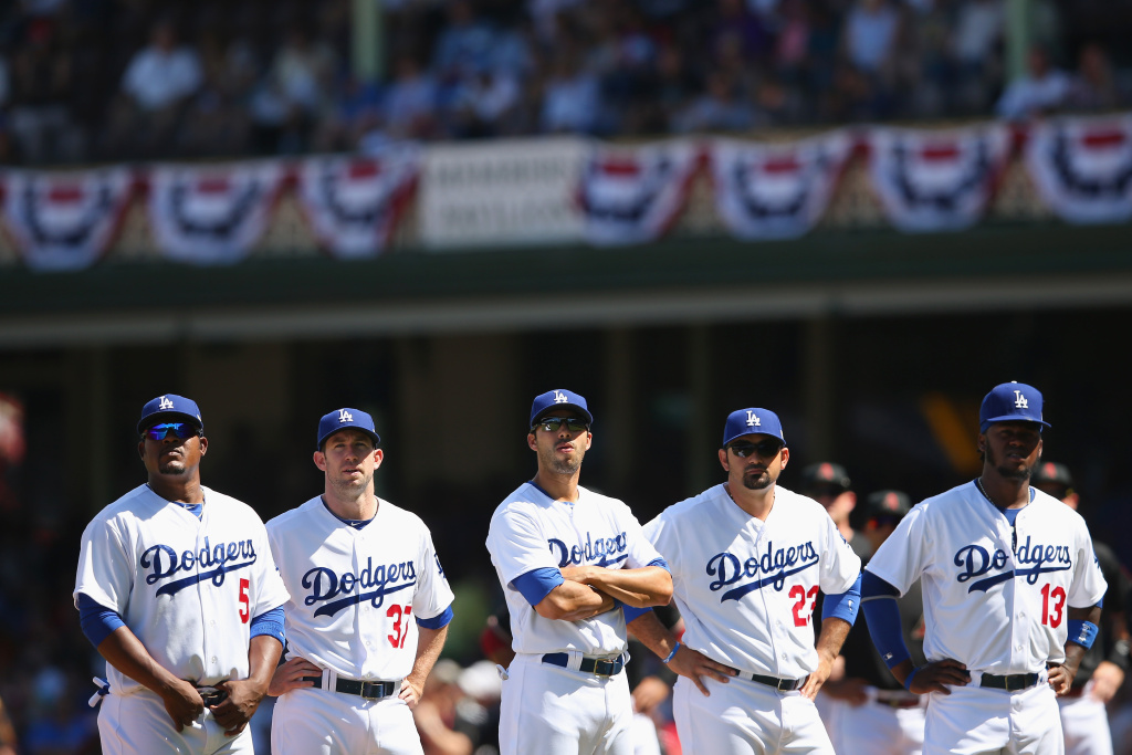 The Dodgers team watches on during a big screen presentation before the MLB match between the Los Angeles Dodgers and the Arizona Diamondbacks at Sydney Cricket Ground on March 23, 2014 in Sydney, Australia.