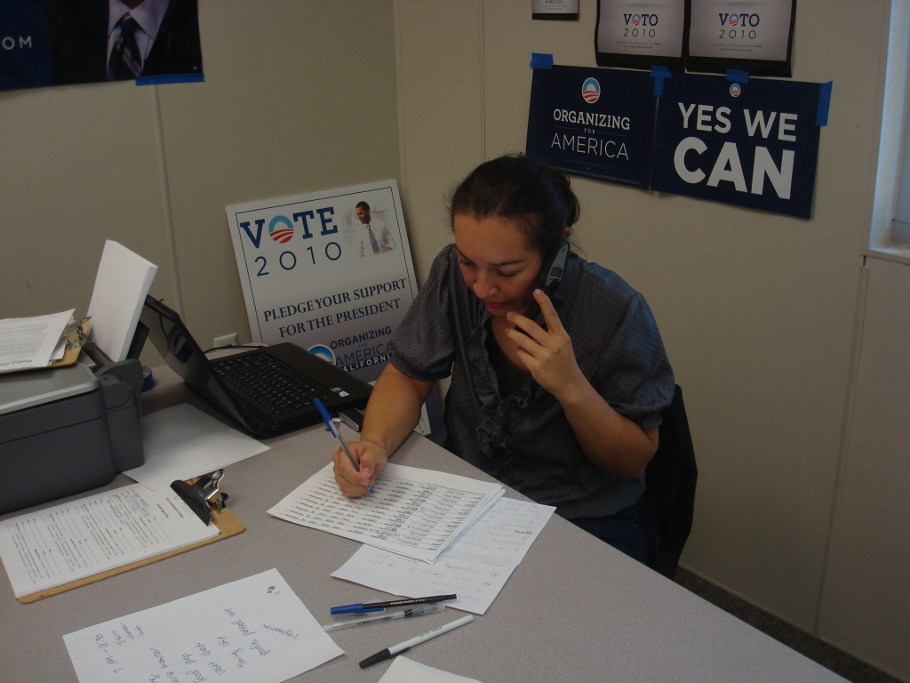 A lady at a Latino voter phone bank makes calls out to fellow Latino voters in August, 2010.