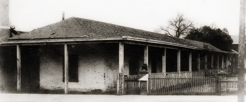 Circa 1885 view of Don Antonio Maria Lugo's adobe, built in 1819, and located at San Pedro near 2nd Street in what is now Downtown Los Angeles. Don Antonio's adobe faced the Plaza.