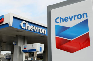 The Chevron logo is displayed at a Chevron gas station Jan. 29, 2010 in Alameda.