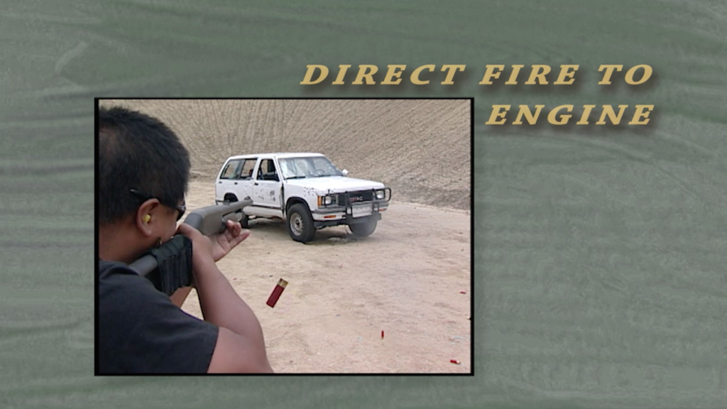 A still from a Los Angeles County Sheriff's Department training video. The clip tells deputies that firearms are not effective at disabling moving vehicles.