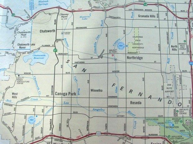 San Fernando Valley map, March 2008