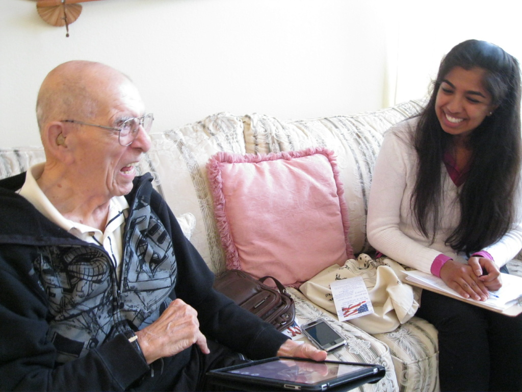 Dominic Cestoni shares a laugh with UC Irvine first-year medical student Nina Narasimhalu during an October visit at Cestoni's home. He is helping young med students learn how to better deal with older patients through a new program at UCI.