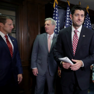 Speaker of the House Paul Ryan, R-Wis., (center) and House Republicans released a fiscal year 2018 budget that would increase military spending and cut other discretionary spending.