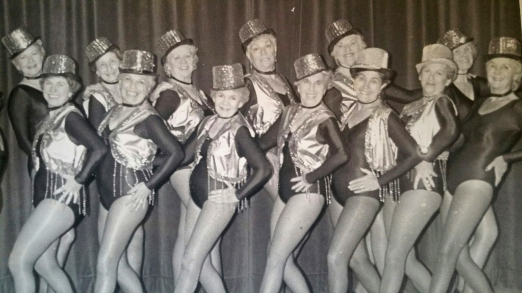Shirley Sarah Heller (2nd row, 4th from left) with the Happy Hoofers tap dance troupe.