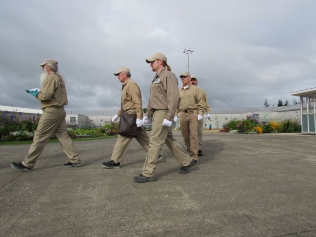 Color Guard: Michael Jefferies (front), James Bell, Randy Roth, Chadwick Kallebaugh, Andrew Wood (closest to camera).Stafford Creek Corrections Center in Aberdeen, Washington.