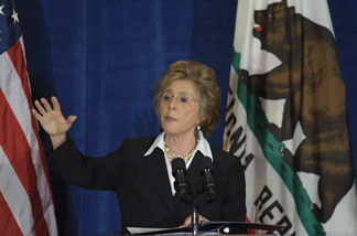 Senator Barbara Boxer speaks at a fundraiser for herself and the Democratic Senatorial Campaign Committee May 25, 2010 at the Fairmont Hotel in San Francisco.