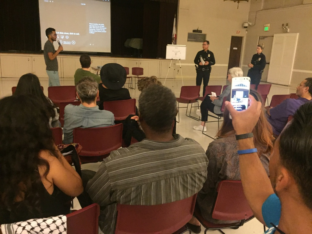 This meeting at the Friendship Auditorium in Atwater was one of four held by the LAPD Wednesday night to gather input on its proposed one year pilot program to fly a drone over Los Angeles.