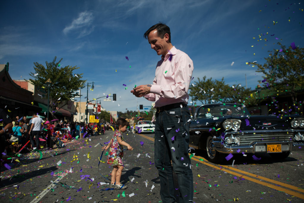 Eric Garcetti walks through the Chinese New Years celebration on February 16th, 2013. Garcetti has played a key role in revitalizing his district in Hollywood.