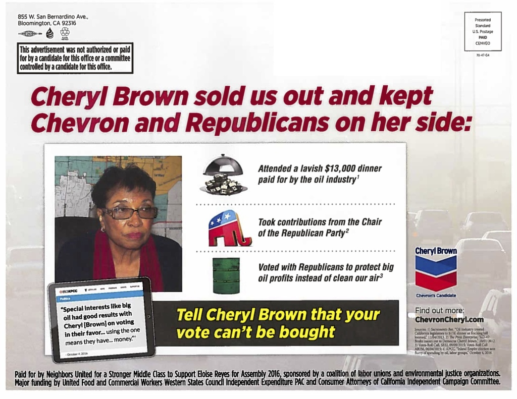 A mailer sent out by Neighbors United excerpts a KPCC story. KPCC does not endorse candidates.
