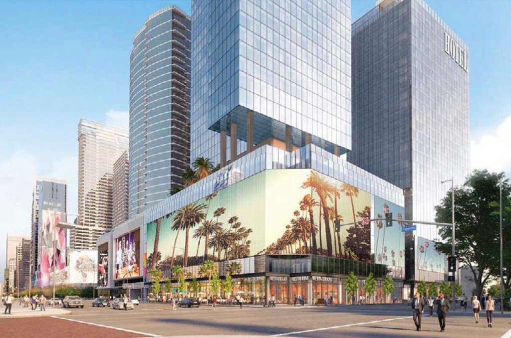 Artists rendering of the proposed Fig+Pico Convention Center Hotels. The palm trees are part of a proposed $14 million installation of LED lights that wrap around the buildings and face the Convention Center.