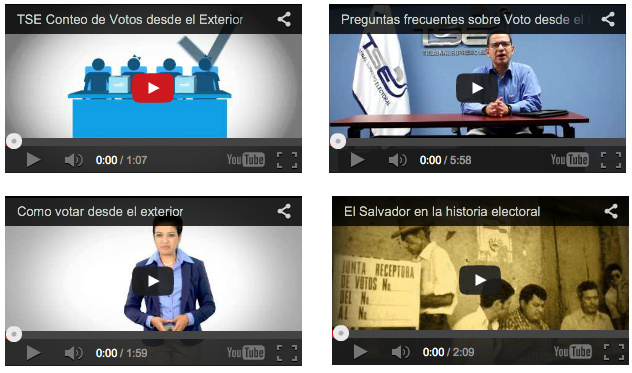 A government electoral website features instructional videos for Salvadoran expatriates casting ballots from abroad.