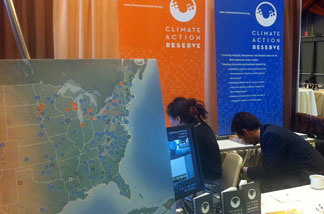 The Climate Action Reserve booth at the Navigating the American Carbon World, April 14, 2011. The Climate Action Reserve is sponsoring the conference.