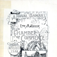 The front cover of a menu from the LA Chamber of Commerce's Annual Banquet in 1895.