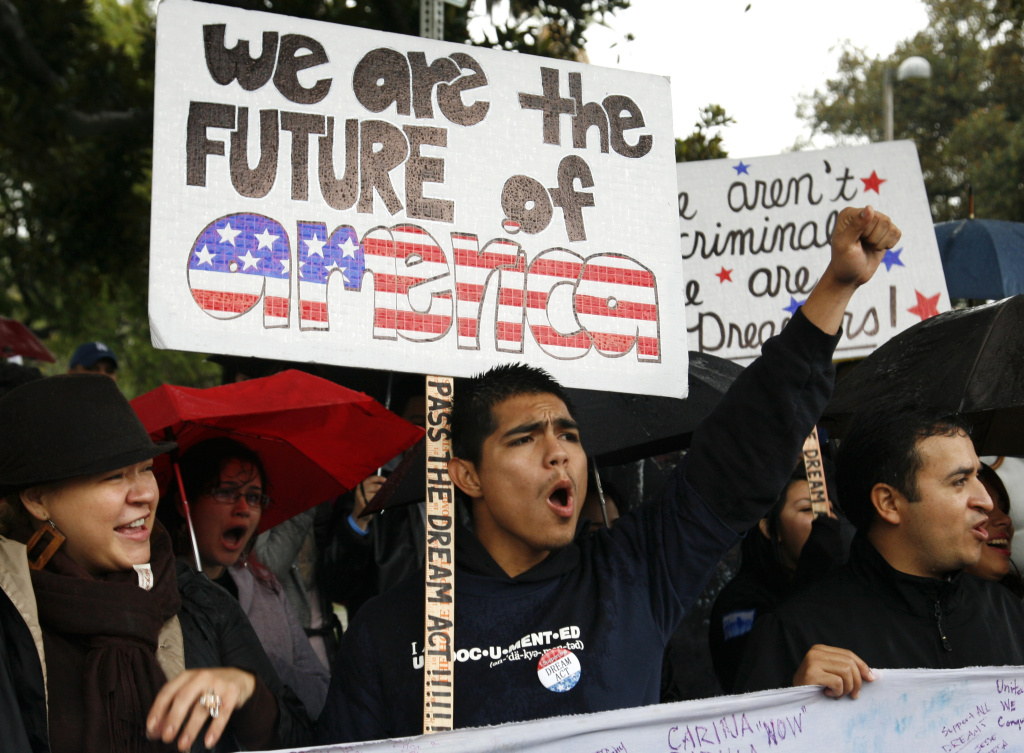Jorge Herrera, 18, a college student in the U.S. illegally, rallies with students and Dream Act supporters in Los Angeles in Dec. 2010.