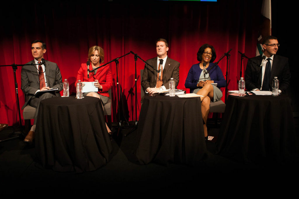 Candidates for mayor of Los Angeles debate in KPCC's Crawford Family Forum on February 5, 2013.