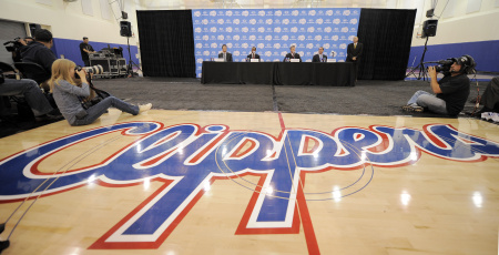 The Los Angeles Clippers logo  during an NBA basketball news conference to introduce Chris Paul h on Thursday, Dec. 15, 2011, in Los Angeles.  (AP Photo/Mark J. Terrill)
