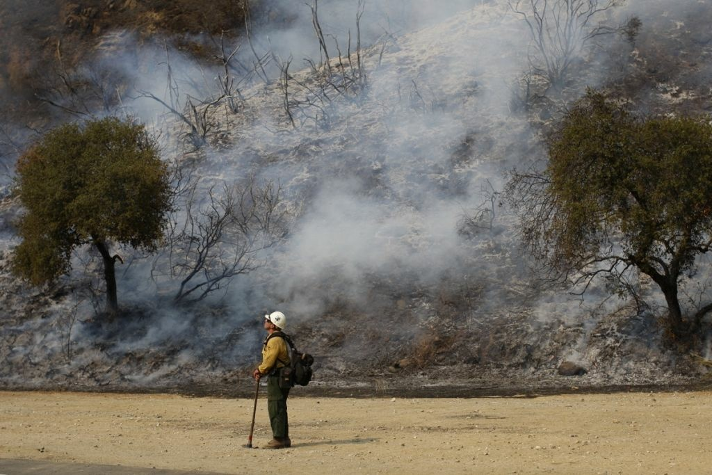 A U.S. Forest Service firefighter stands near a smoldering hillside at the Williams fire in the Angeles National Forest on Sept. 4, 2012 north of Glendora.