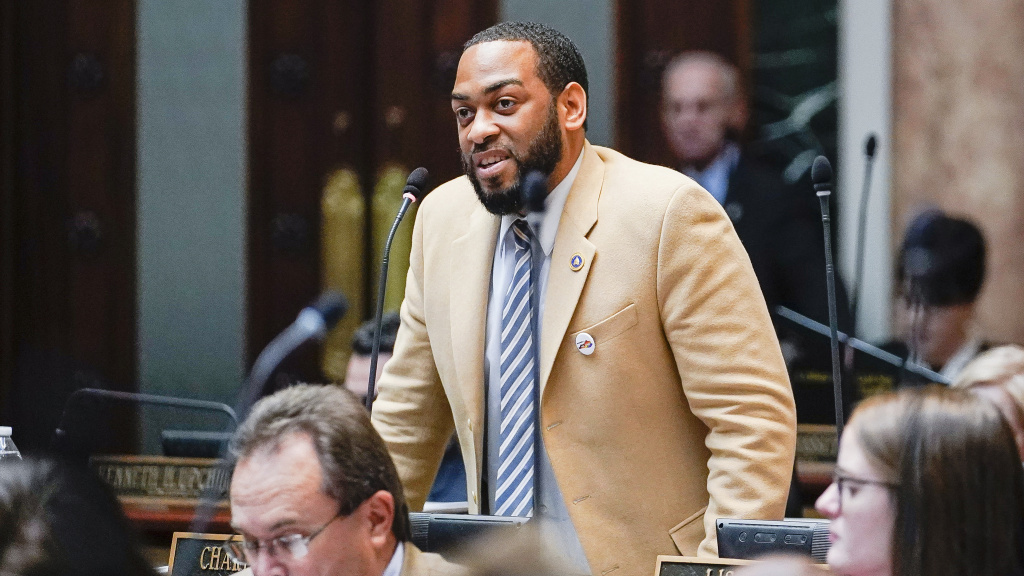 State Rep. Charles Booker, pictured, faces Amy McGrath in Kentucky's Democratic primary for the U.S. Senate.