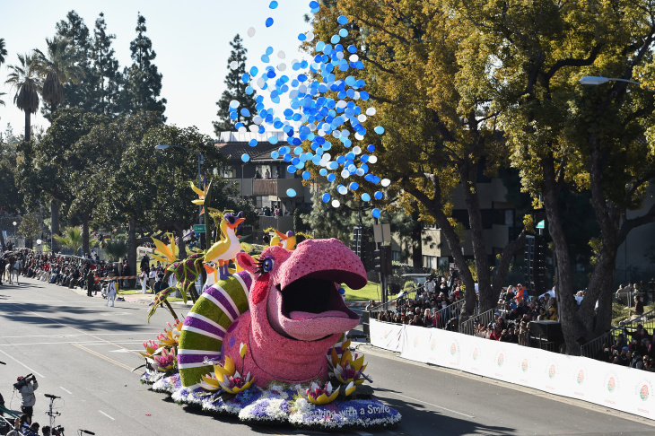 File: The Zappos.com Float participates in the 126th Annual Tournament of Roses Parade presented by Honda on January 1, 2015 in Pasadena, California.